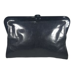 1980s Bottega Veneta Black Leather Clutch With Pla